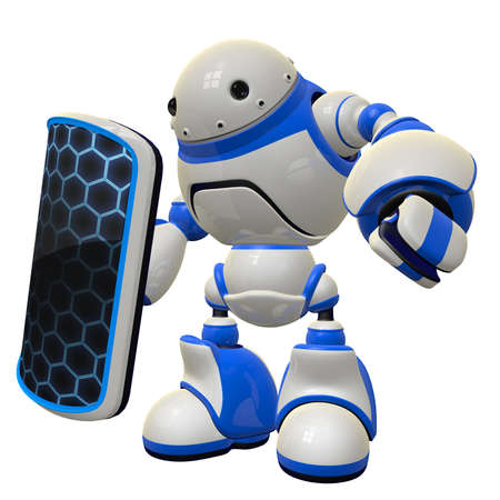 Robot with shield, a fictional concept in computer security.  Stock Photo - 14787587
