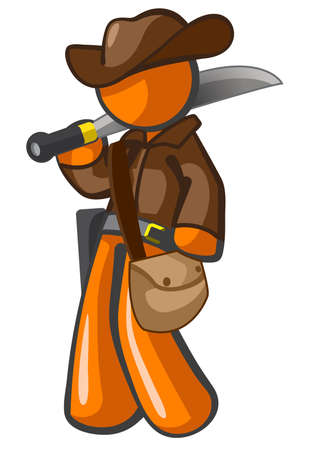 machete: Orange person cowboy adventurer with machete and hat. He might be an archaeologist.