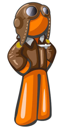 airman: Orange person aviator pilot with goggles and hat, leather jacket, classic style. Good travel and adventure mascot of a relatively steampunk style.