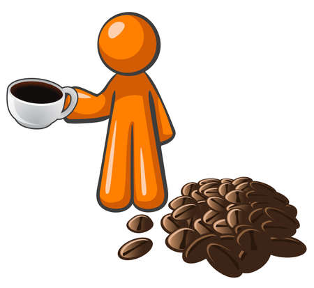 orange man: Orange person with coffee cup and coffee beans, depicting a quality roast.