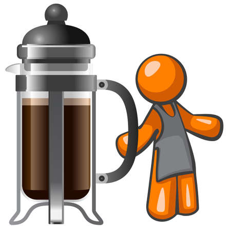 barista: Orange person barista with large french press, ready to serve a refreshing cup of coffee.