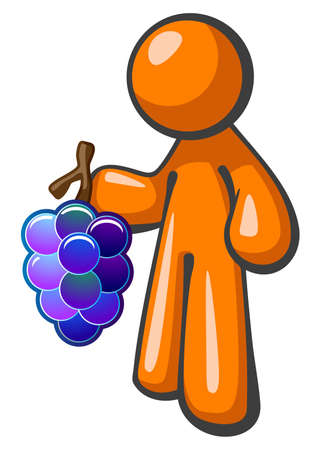 viticulture: Orange person holding bunch of grapes. Grapes colored to be iconic and attractive. Stock Photo