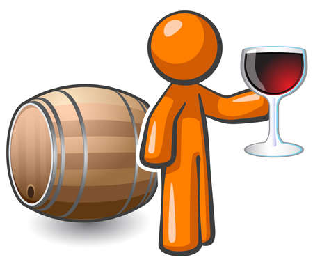 suggesting: Orange man holding a glass of fine red wine, and a keg behind him, suggesting he may be in a wine cellar. Illustration to depict fine wine culture and process.