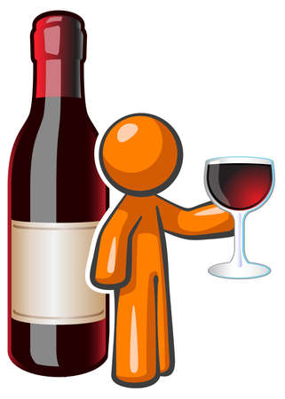 orange man: Orange person holding a glass of fine wine with a large wine bottle behind him. Created for advertising fine wine but with a vibrant and happy appeal.