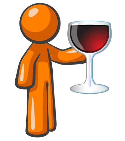 savor: Orange person holding large glass of red wine. Attention given to vibrance and attractiveness so as to present the product in a happy and classy way. Stock Photo