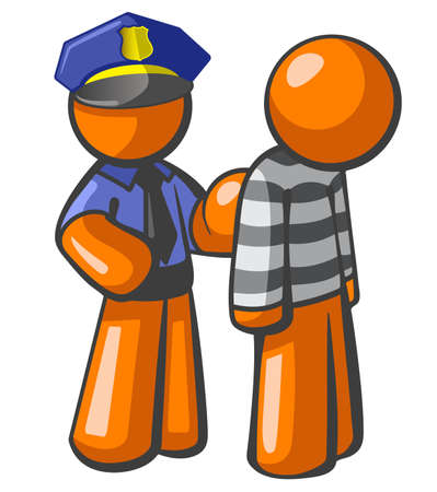 criminal: Orange person police man catching a robber. General concept in law, security, piracy, and general justice.