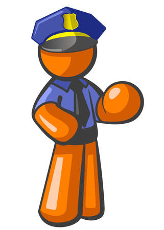 enforce: Orange person police officer, posed and ready to enforce law. His hands are positioned so as to be holding a sign, a criminal, a night stick, or anything you may wish to use as a prop with this cute little police man. Stock Photo