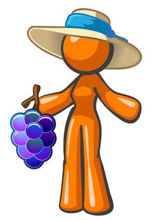 오렌지 여자 포도의 큰 무리를 들고입니다. 아마도 포도원 노동자 또는 농부 시장 노동자 일 것입니다.