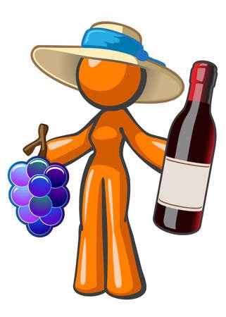 빈 레이블이 빈티지 와인 큰 병을 들고 오렌지 레이디. 그녀는 또한 포도가 많고 포도원 모자를 쓰고 있습니다. 훌륭한 와인 비즈니스 묘사.