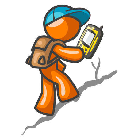 Man with GPS global positioning system device. Orange man character in hiking and survival situation.