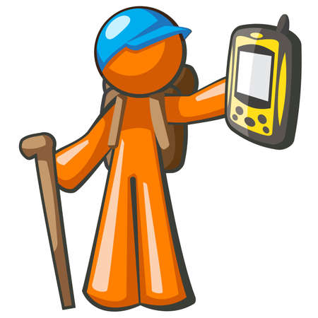 global positioning system: Orange Man with GPS global positioning system device. Stock Photo