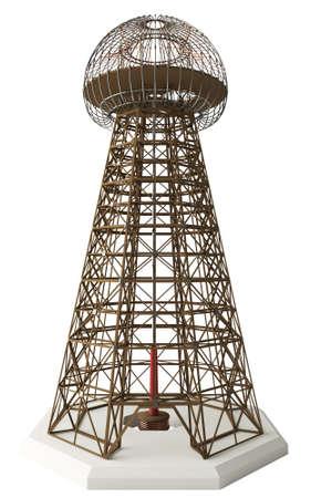 meant: Nikola Tesla invenzione trasmettitore d'ingrandimento anche conosciuto come la Torre Wardenclyffe Meant per la produzione di energia senza fili Editoriali