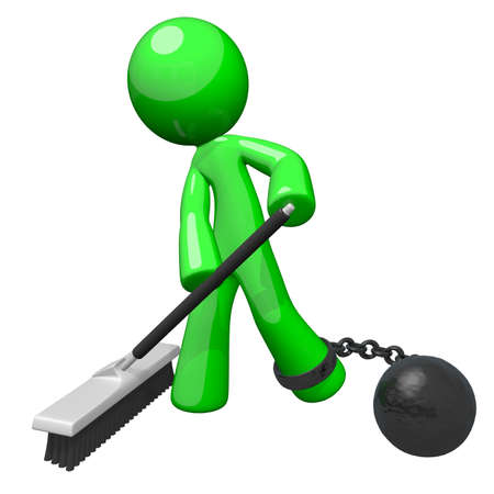 servitude: Green man with a ball and chain sweeping the floor. Denotes slavery, blue collar servitude, or some undesirable form of hard labor.  Stock Photo