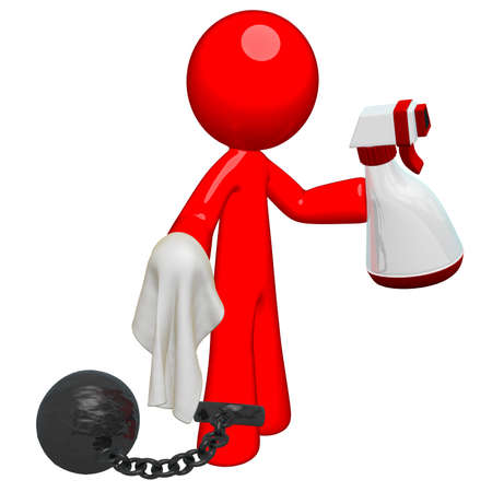 underpaid: Red man holding a spray, cloth, and bound by a ball and chain. Suggests an oppressive or non-desireable job, or perhaps the chores of inmates or domestic responsibilities. Stock Photo
