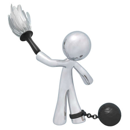 Silver man cleaning with a ball and chain. Suggests oppressive or underpaid work.