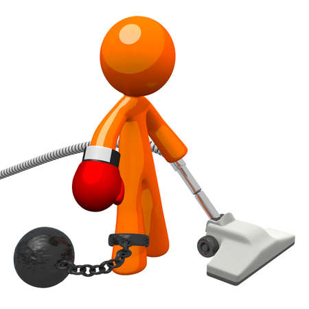 oppressive: Orange man with a boxing glove and a vacuum cleaner, held by a ball and chain. Oppressive work for him no doubt! Denotes substandard workplace situations and employee frustration.