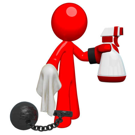 object oppression: Prisoner with a glove holding a spray bottle and cloth. Perhaps he is going to Clean Up His Act as they say!  Stock Photo