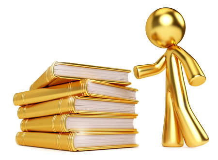 Gold guy buy golden stack of books. Illustration to show value of knowledge and wisdom, and searching for it. Can also be an school education and college concept.