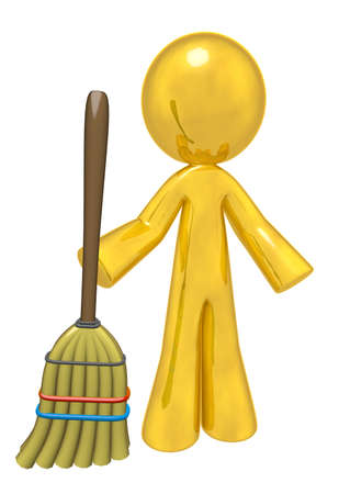 How better to depict quality cleaning services than with a big golden humanoid person holding a rather commonplace broom! Cliche? I think not! photo