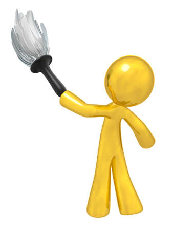 cartoon cleaner: Gold man holding a duster, denotes quality cleaning services, general maintenance, and so forth. Always at top quality.
