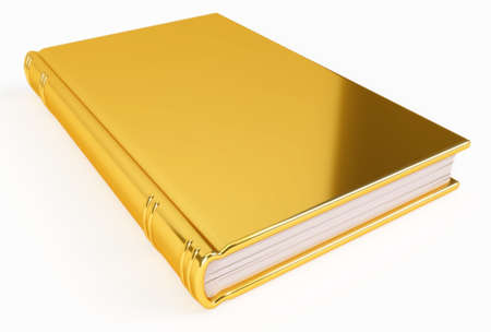 precious metal: A golden book, made out of gold, containing knowledge of high value.  Stock Photo