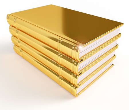Golden stack of books, neatly arranged. Education and knowledge concept. photo