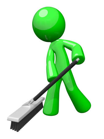 clean street: Environmental cleaning and sanitation services. A green man pushing a broom. Great example of caring for the eco system and envoronment.  Stock Photo