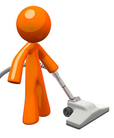 Orange Man with Vacuum Cleaner photo
