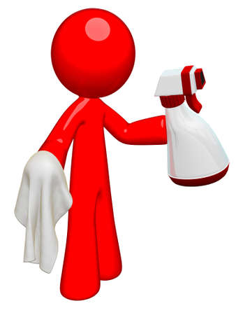clean office: Red man professional cleaner with spray and cloth, ready to clean house, office, or anything!
