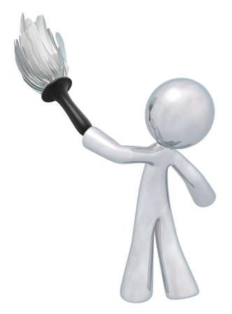 servicio domestico: Hombre de plata que sostiene un plumero, se refiere a servicios de calidad de limpieza, mantenimiento general, etc. Siempre a la calidad superior.