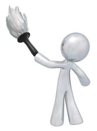 cartoon cleaner: Silver man holding a duster, denotes quality cleaning services, general maintenance, and so forth. Always at top quality.