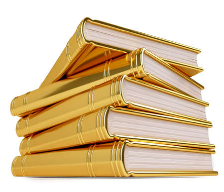 library books: Golden stack of books depicting the value of education, knowledge, and wisdom.