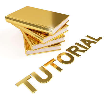 Golden stack of books with the word Tutorial. We can appreciate the value of a good tutorial, and the time the teacher took to make it.  Stock Photo