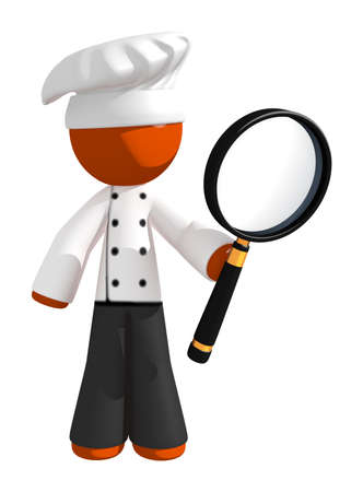 professional chef: Orange Man Chef Using Large Magnifying Glass