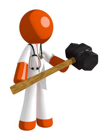 impact tool: Orange Man doctor Man Holding Giant Sledge Hammer