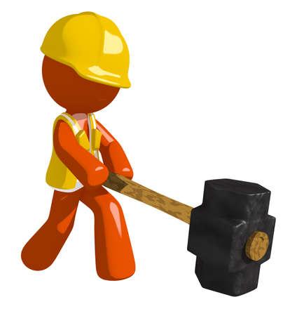 oppression: Orange Man Construction Worker  Hitting with Sledge Hammer