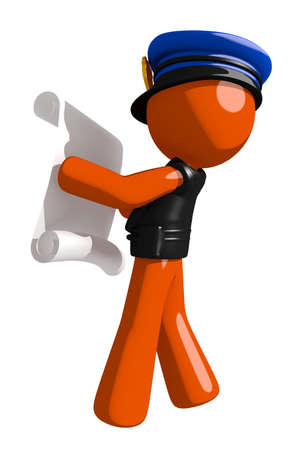 draftsmanship: Orange Man police officer  Reading Schematic