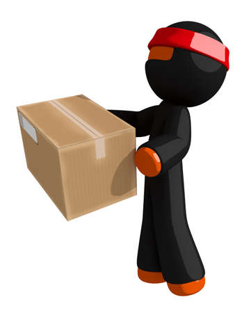 delivering: Orange Man Ninja Warrior Delivering Package
