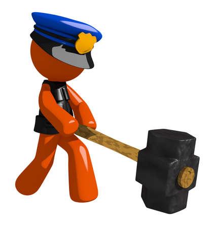 orange man: Orange Man police officer  Hitting with Sledge Hammer