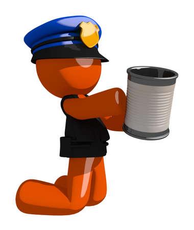 man begging: Orange Man police officer  Asking for Charity