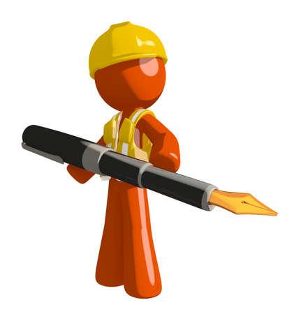 orange man: Orange Man Construction Worker