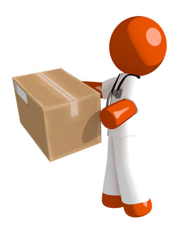 physiotherapist: Orange Man doctor Delivering a Package
