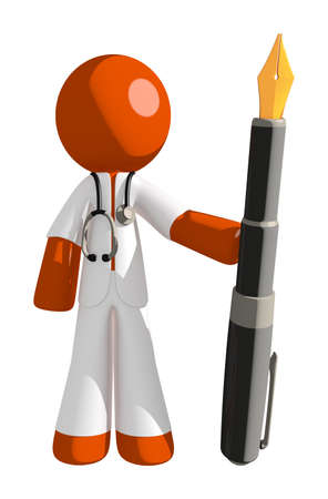 orange man: Orange Man doctor Holding Fountain Pen Stock Photo
