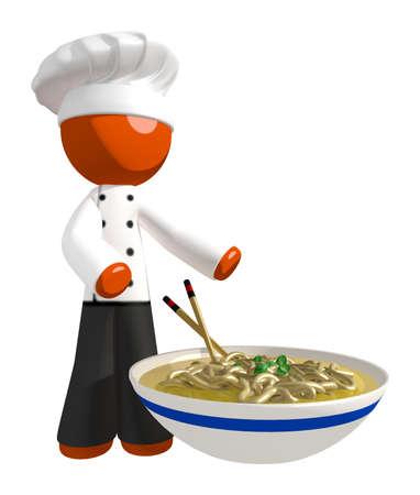 soup: Orange Man Chef holding Bow of Noodles