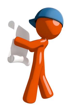 mail man: Orange Man postal mail worker  Reading Schematic Stock Photo