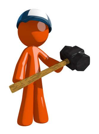 impact tool: Orange Man postal mail worker  Man Holding Giant Sledge Hammer Stock Photo