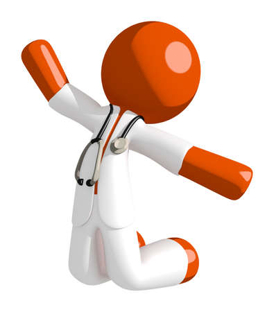 kneeling man: Orange Man doctor Jumping or Kneeling