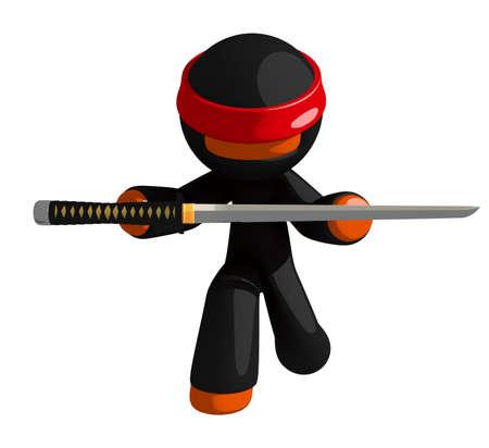 samurai sword: Orange Man Ninja Warrior Bowing and Presenting Sword