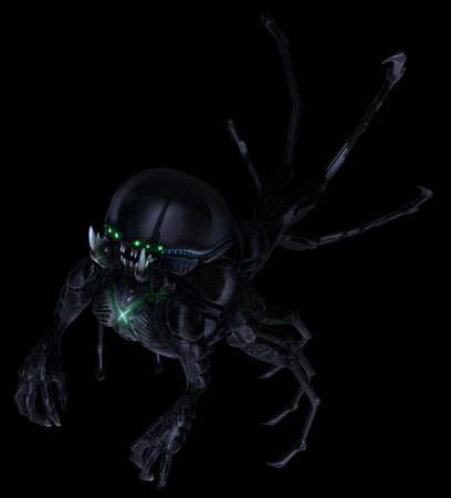 lurk: Underground alien concept, suspended in black space. Stock Photo