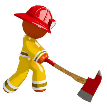 ax man: Orange Man Firefighter Chopping with Ax